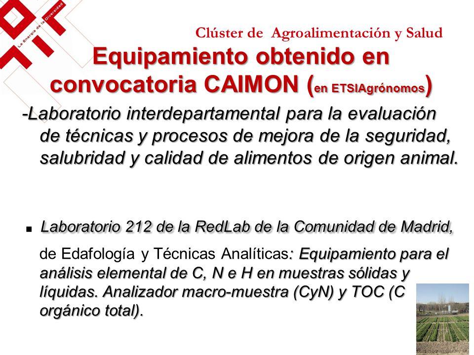 Equipamiento obtenido en convocatoria CAIMON (en ETSIAgrónomos)