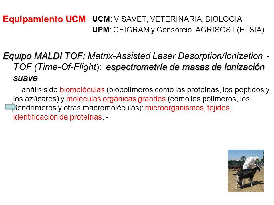 Equipamiento UCM UCM: VISAVET, VETERINARIA, BIOLOGIA. UPM: CEIGRAM y Consorcio AGRISOST (ETSIA)