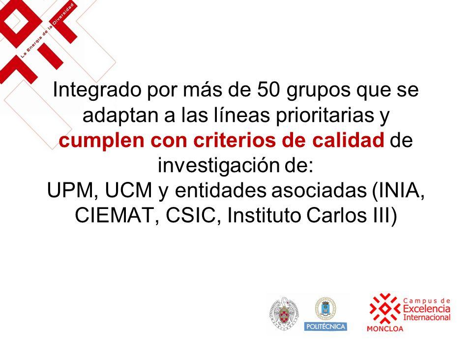 Integrado por más de 50 grupos que se adaptan a las líneas prioritarias y cumplen con criterios de calidad de investigación de: UPM, UCM y entidades asociadas (INIA, CIEMAT, CSIC, Instituto Carlos III)