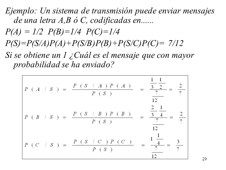 Ejemplo: Un sistema de transmisión puede enviar mensajes de una letra A,B ó C, codificadas en......