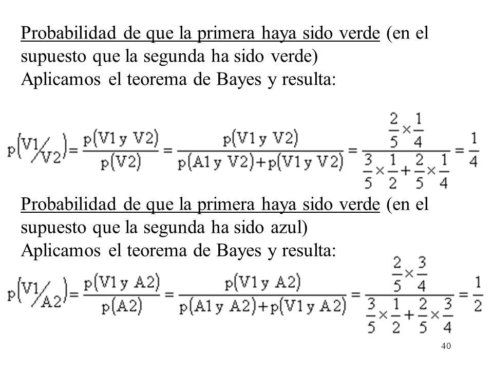 Probabilidad de que la primera haya sido verde (en el supuesto que la segunda ha sido verde) Aplicamos el teorema de Bayes y resulta: