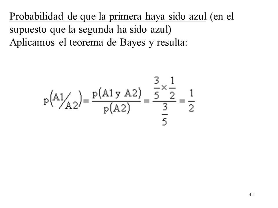 Probabilidad de que la primera haya sido azul (en el supuesto que la segunda ha sido azul) Aplicamos el teorema de Bayes y resulta: