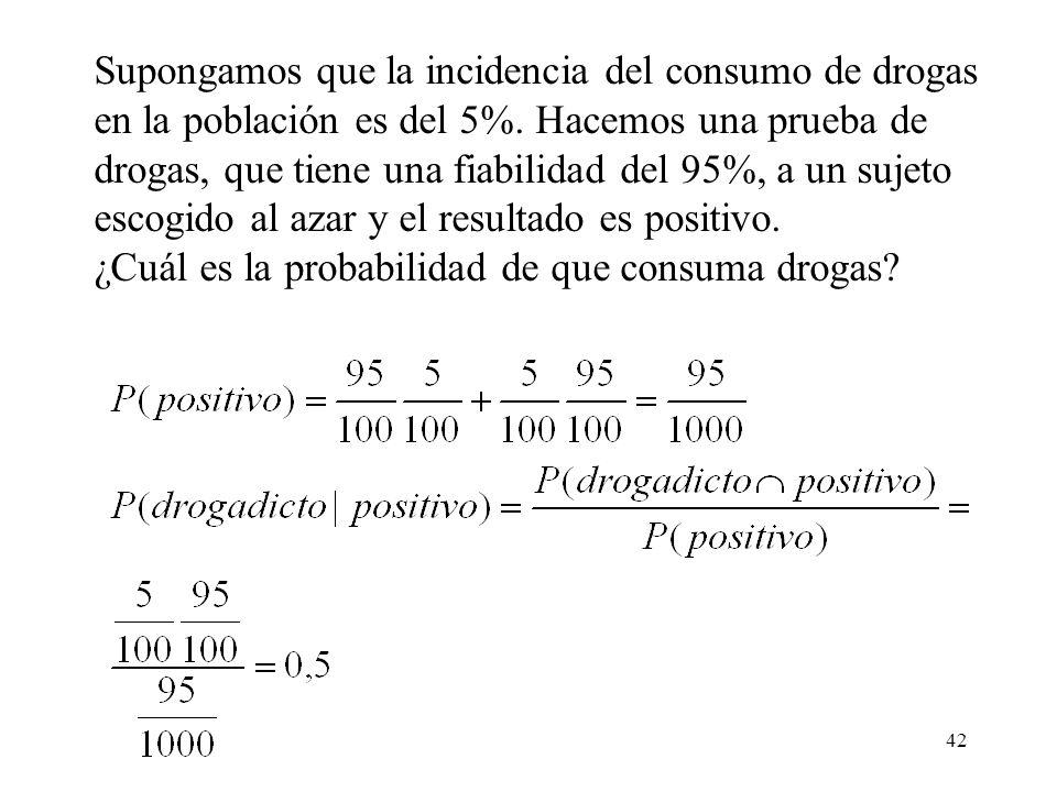Supongamos que la incidencia del consumo de drogas