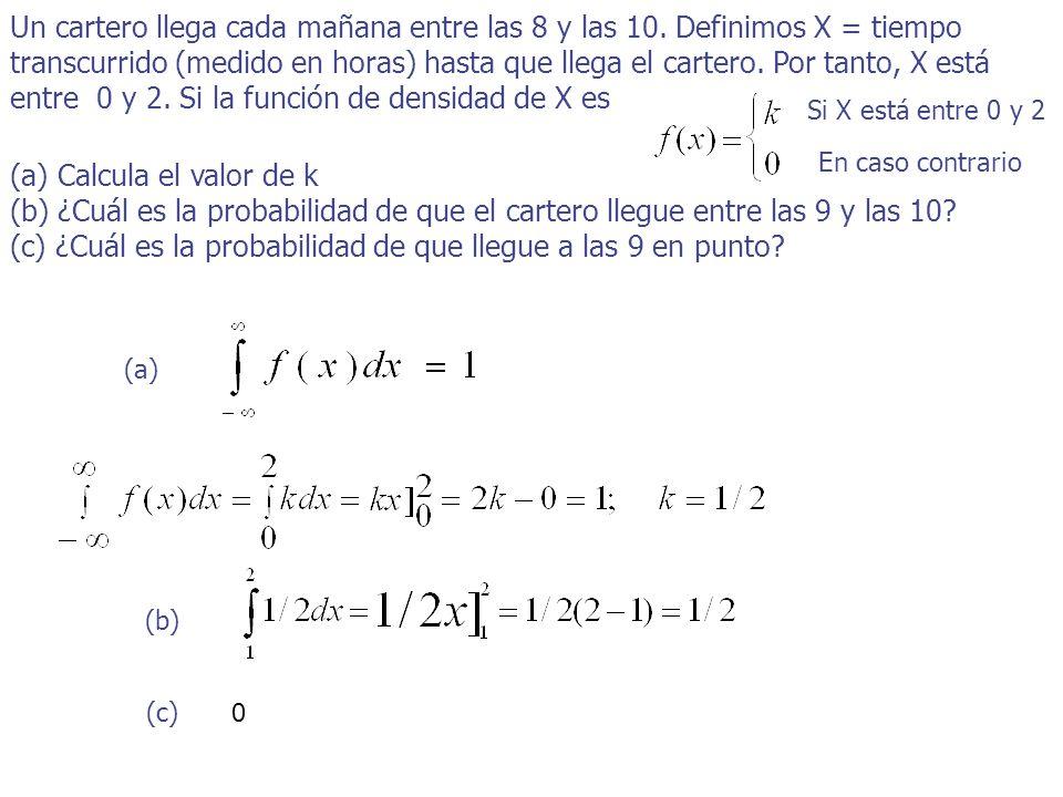 entre 0 y 2. Si la función de densidad de X es