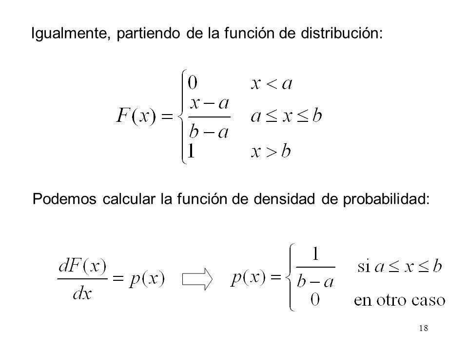 Igualmente, partiendo de la función de distribución: