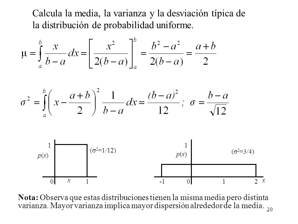 Calcula la media, la varianza y la desviación típica de