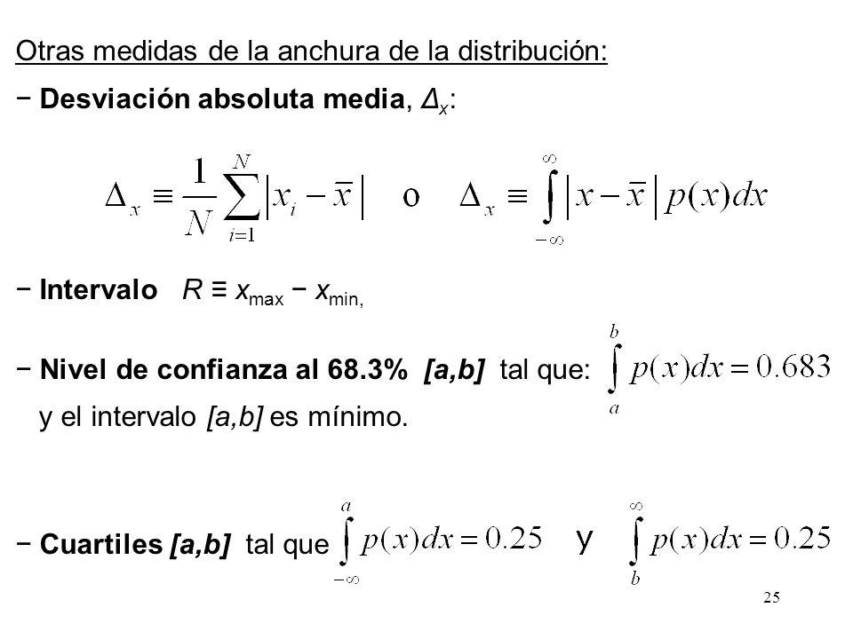 Otras medidas de la anchura de la distribución: