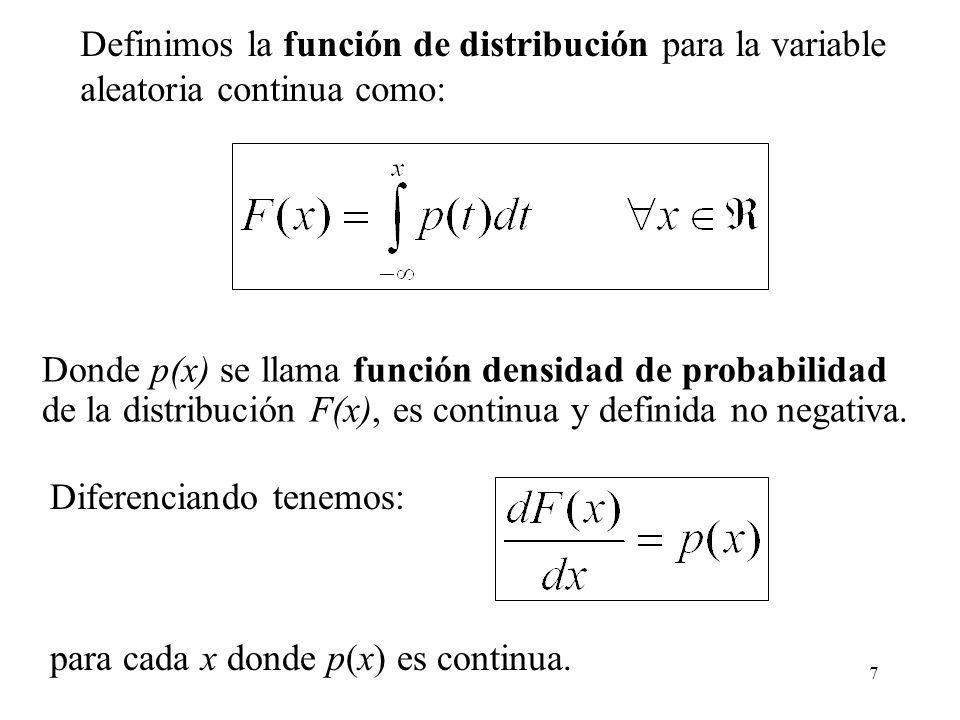 Definimos la función de distribución para la variable
