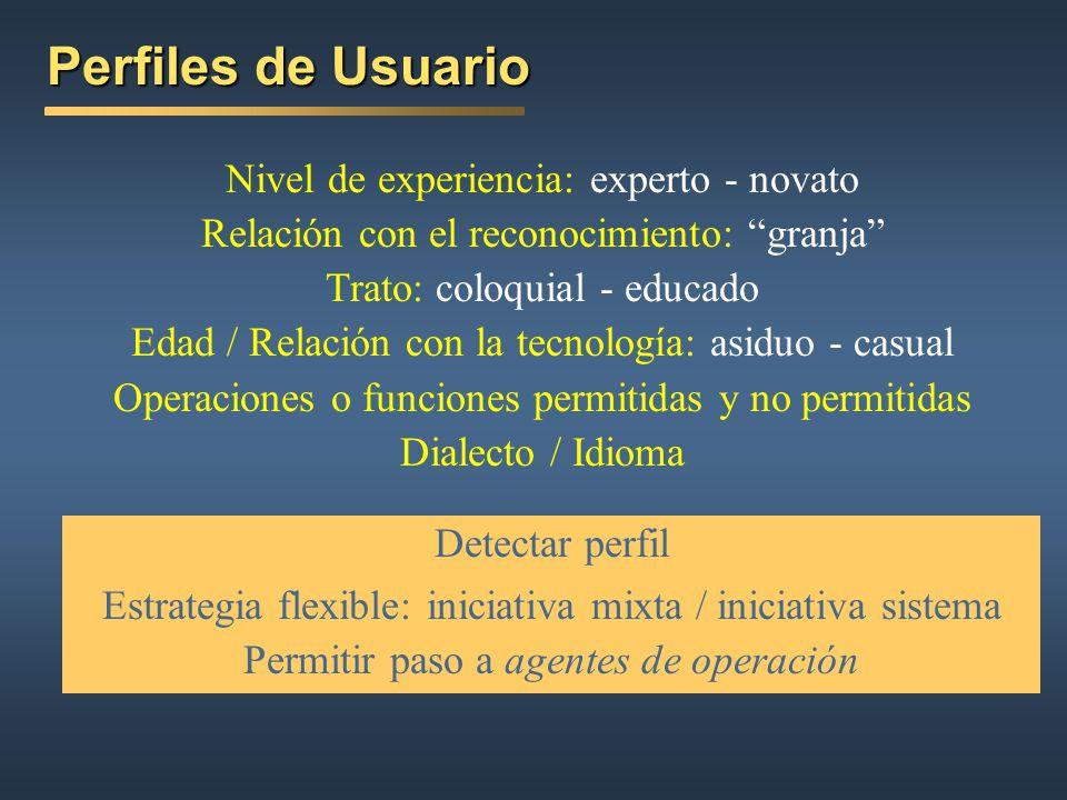 Perfiles de Usuario Nivel de experiencia: experto - novato