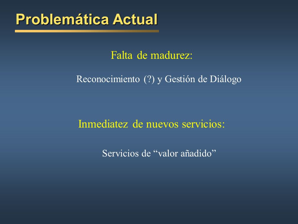 Problemática Actual Falta de madurez: Inmediatez de nuevos servicios: