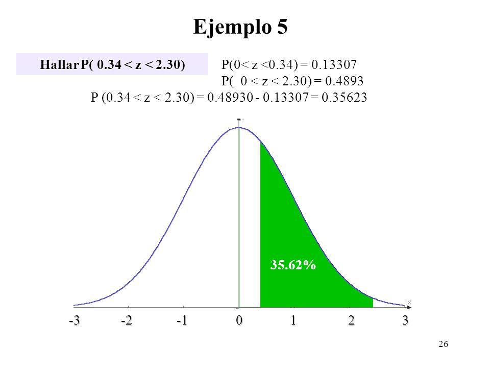 Ejemplo 5 Hallar P( 0.34 < z < 2.30)