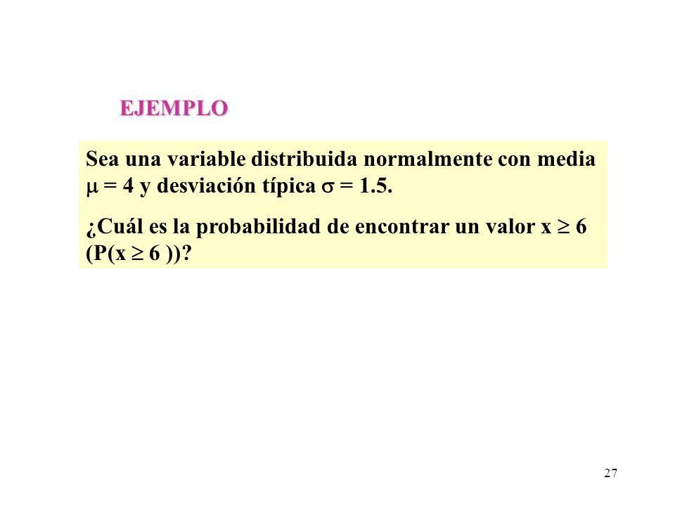 EJEMPLO Sea una variable distribuida normalmente con media  = 4 y desviación típica  = 1.5.