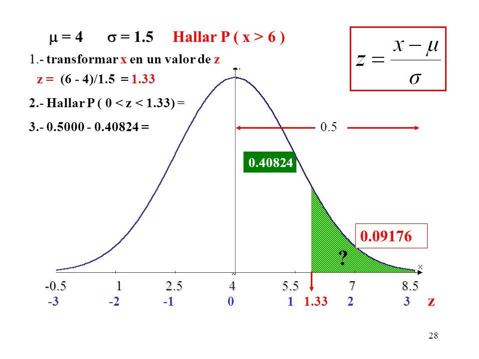  = 4  = 1.5 Hallar P ( x > 6 ) 1.- transformar x en un valor de z. z = (6 - 4)/1.5 = 1.33.