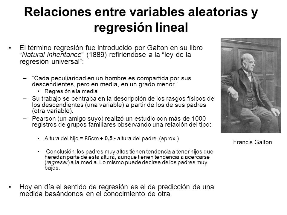 Relaciones entre variables aleatorias y regresión lineal