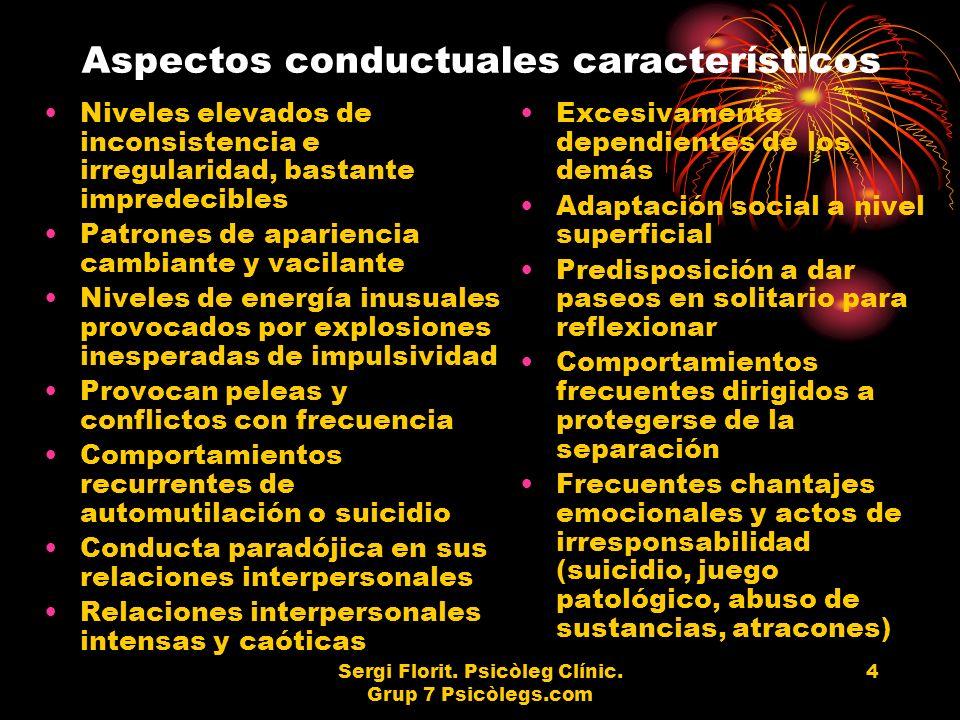 Aspectos conductuales característicos