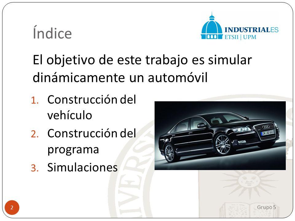 Índice El objetivo de este trabajo es simular dinámicamente un automóvil. Construcción del vehículo.