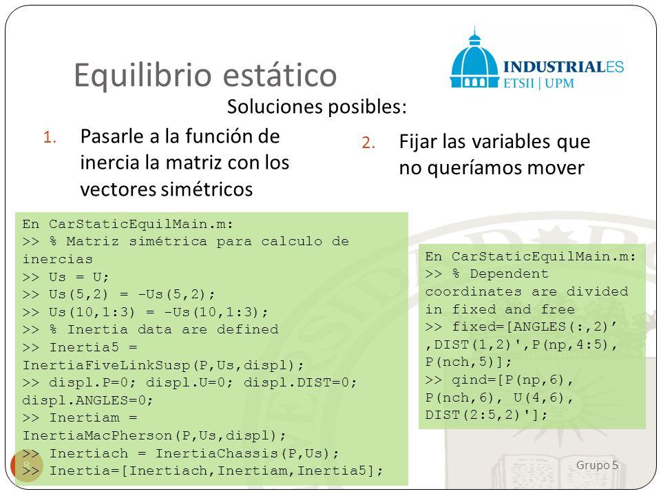 Equilibrio estático Soluciones posibles: