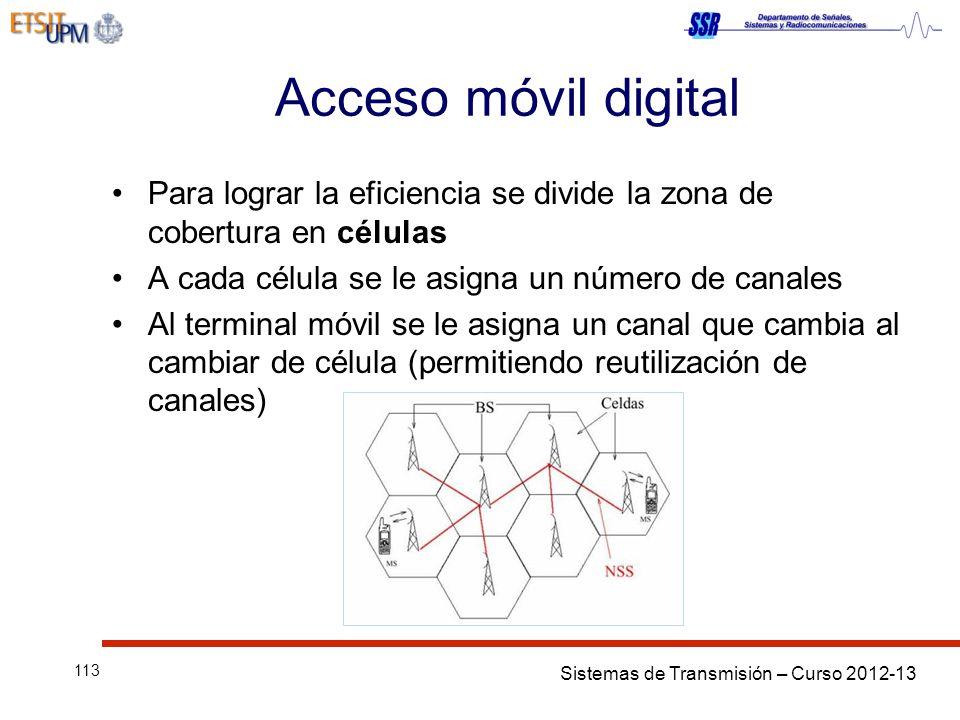 Acceso móvil digital Para lograr la eficiencia se divide la zona de cobertura en células. A cada célula se le asigna un número de canales.