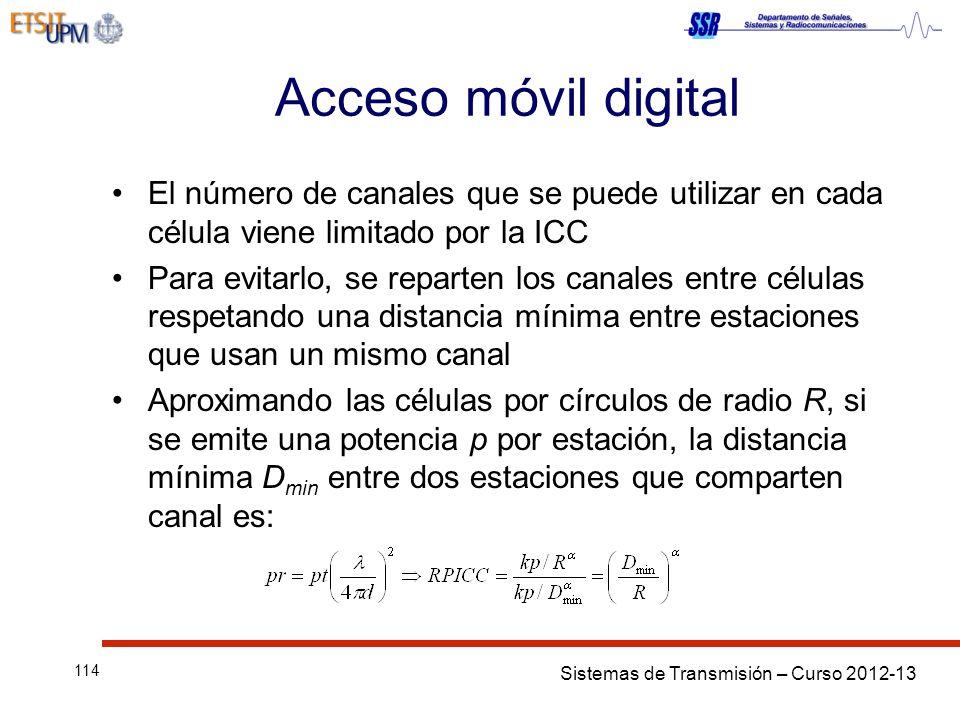 Acceso móvil digital El número de canales que se puede utilizar en cada célula viene limitado por la ICC.