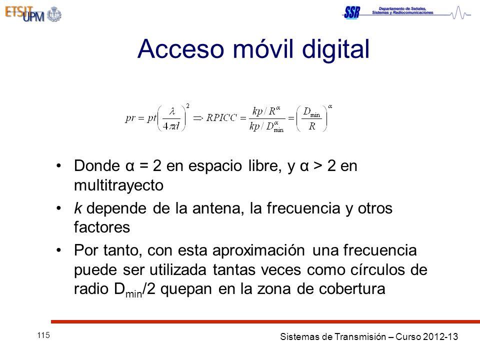 Acceso móvil digital Donde α = 2 en espacio libre, y α > 2 en multitrayecto. k depende de la antena, la frecuencia y otros factores.