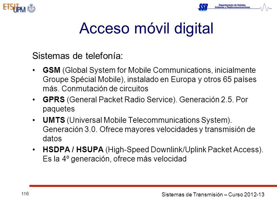 Acceso móvil digital Sistemas de telefonía: