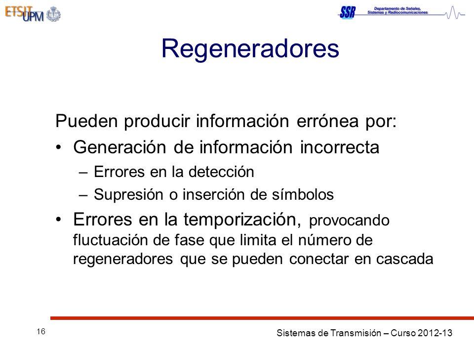 Regeneradores Pueden producir información errónea por: