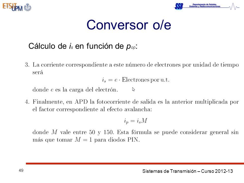 Conversor o/e Cálculo de is en función de pop: