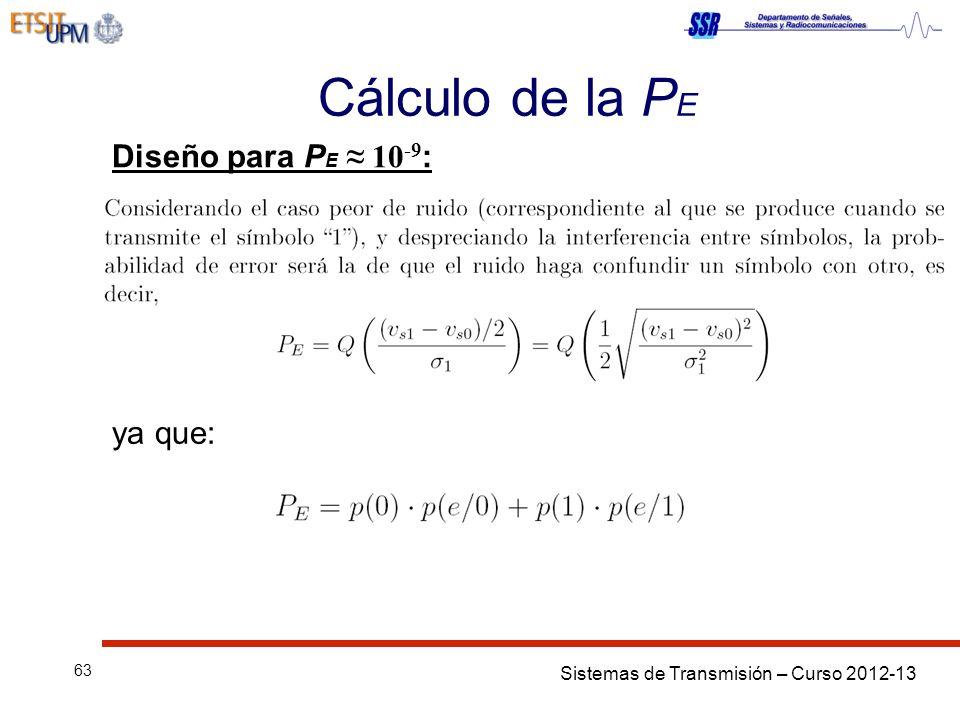 Cálculo de la PE Diseño para PE ≈ 10-9: ya que:
