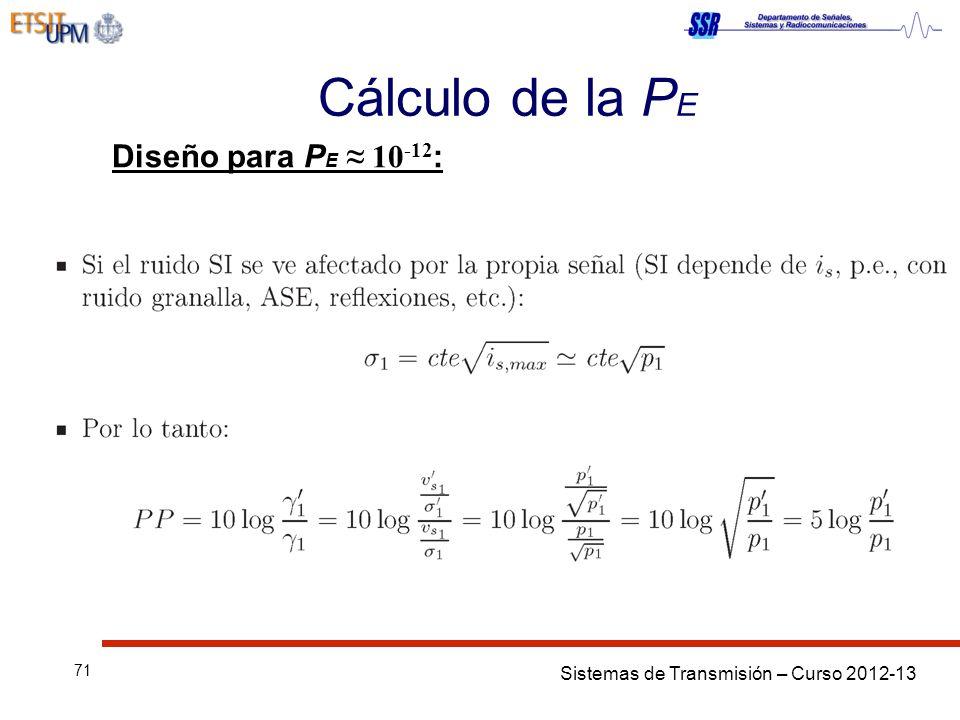 Cálculo de la PE Diseño para PE ≈ 10-12: