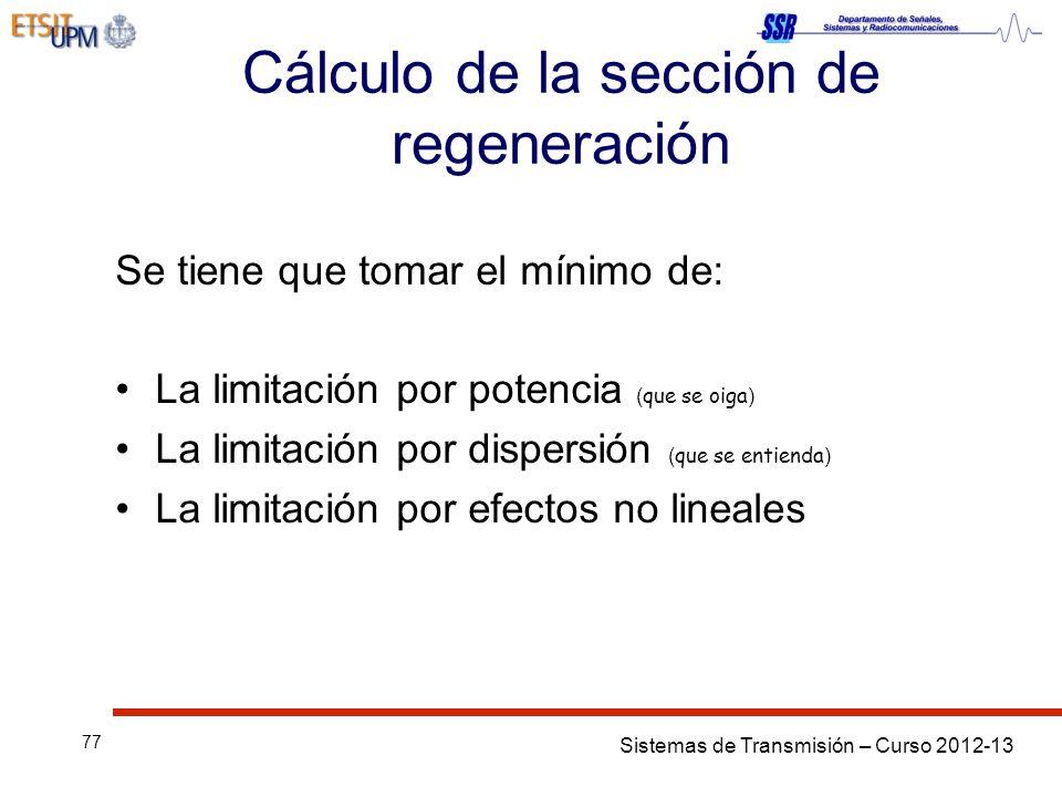 Cálculo de la sección de regeneración