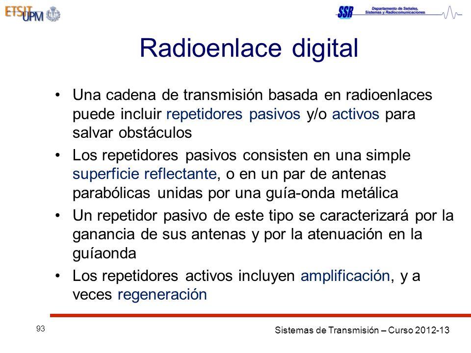 Radioenlace digital Una cadena de transmisión basada en radioenlaces puede incluir repetidores pasivos y/o activos para salvar obstáculos.