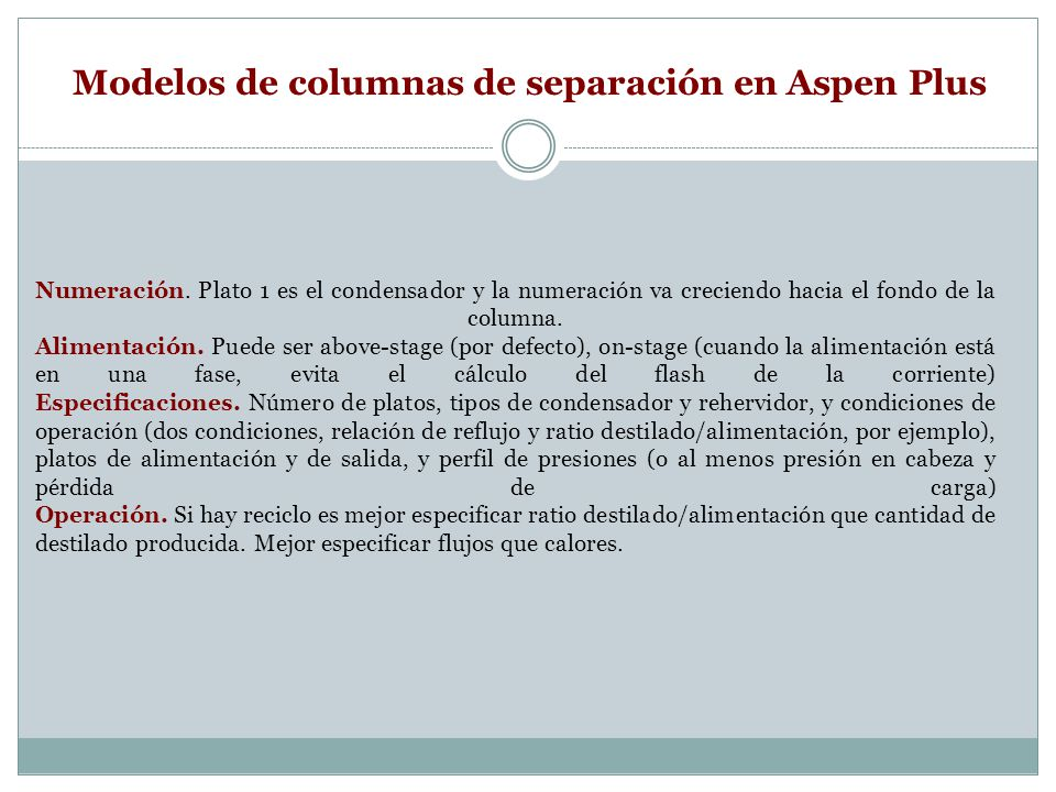 Modelos de columnas de separación en Aspen Plus