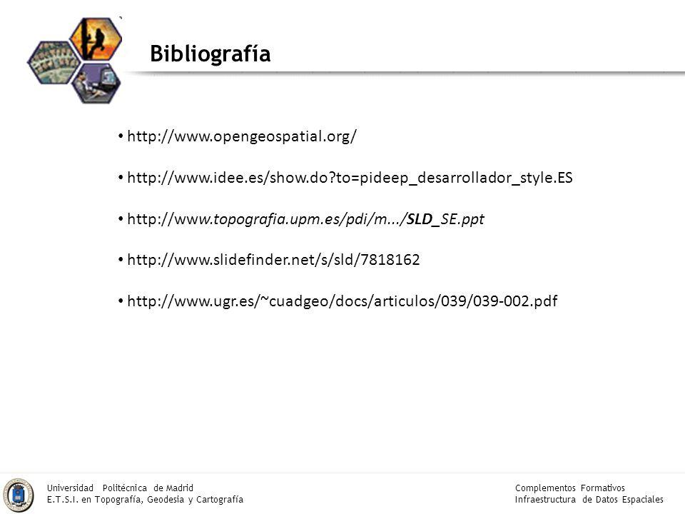 Bibliografía http://www.opengeospatial.org/