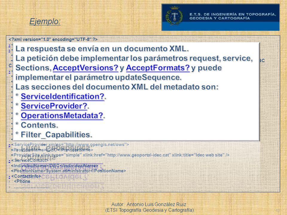 La respuesta se envía en un documento XML.