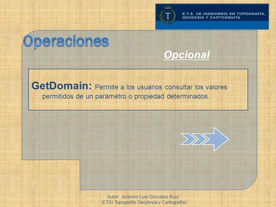Operaciones Opcional. GetDomain: Permite a los usuarios consultar los valores permitidos de un parámetro o propiedad determinados.
