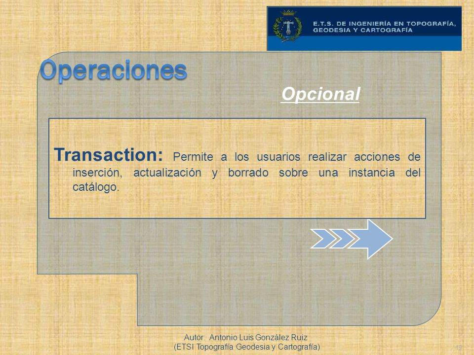 Operaciones Opcional. Transaction: Permite a los usuarios realizar acciones de inserción, actualización y borrado sobre una instancia del catálogo.