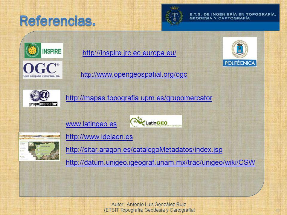 Referencias. http://inspire.jrc.ec.europa.eu/