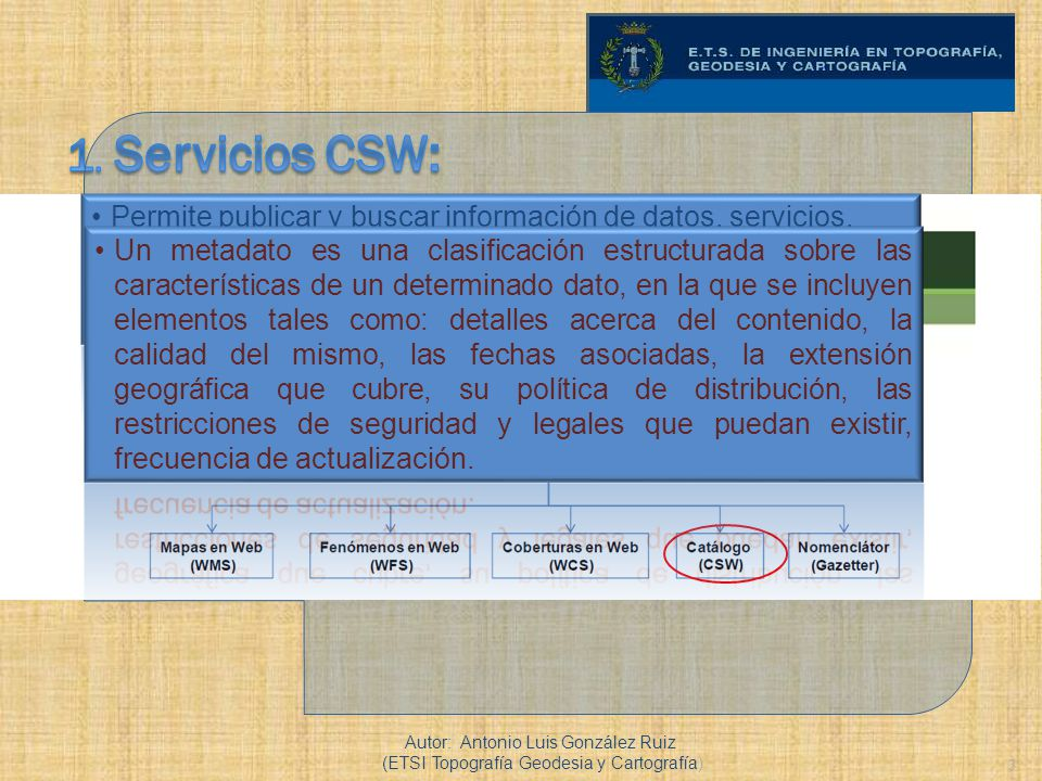 1. Servicios CSW: Permite publicar y buscar información de datos, servicios, aplicaciones y en general de todo tipo de recursos.