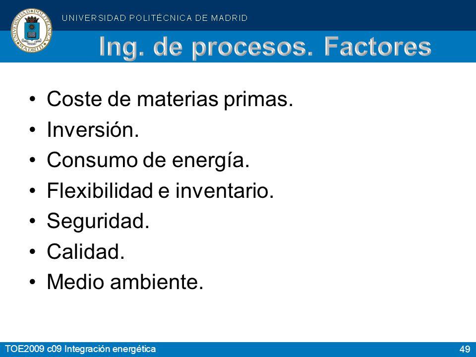 Ing. de procesos. Factores