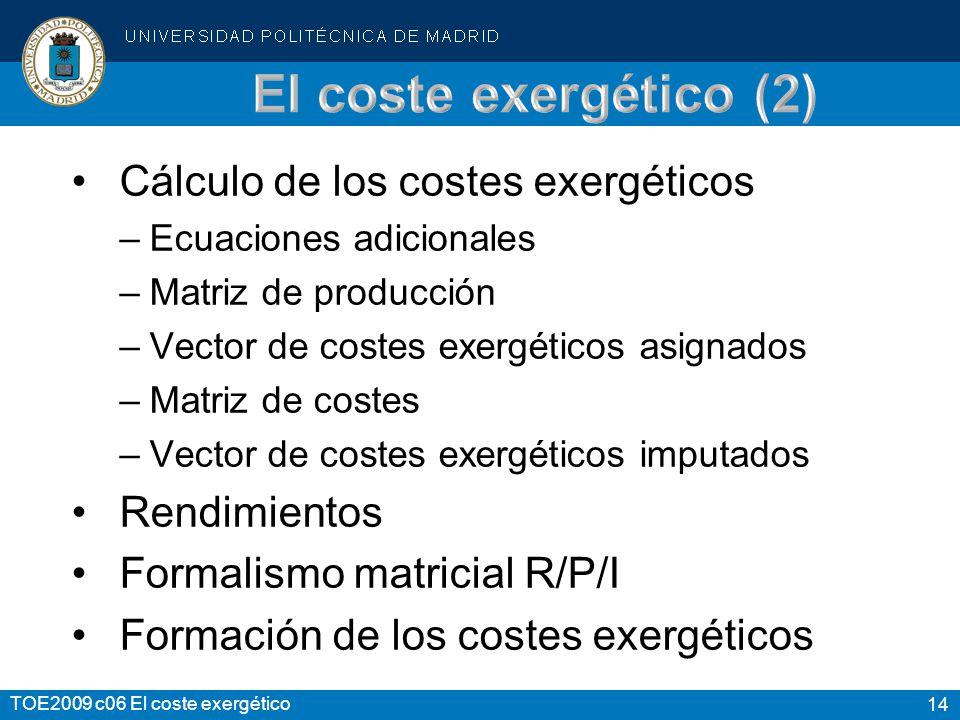 El coste exergético (2) Cálculo de los costes exergéticos Rendimientos