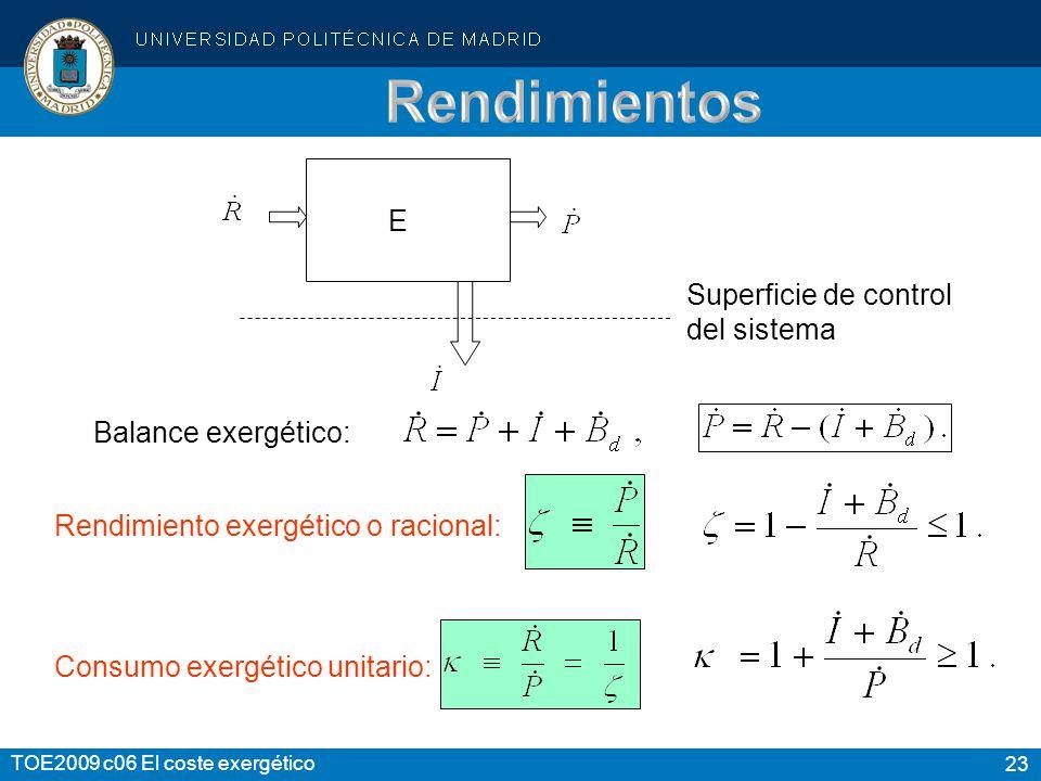 Rendimientos E Superficie de control del sistema Balance exergético: