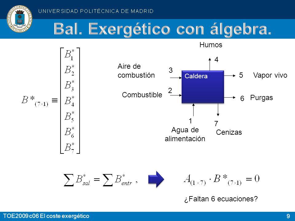 Bal. Exergético con álgebra.