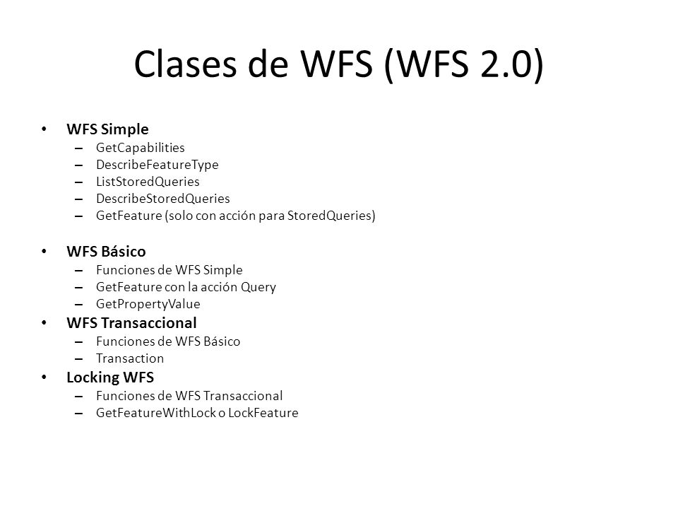 Clases de WFS (WFS 2.0) WFS Simple WFS Básico WFS Transaccional