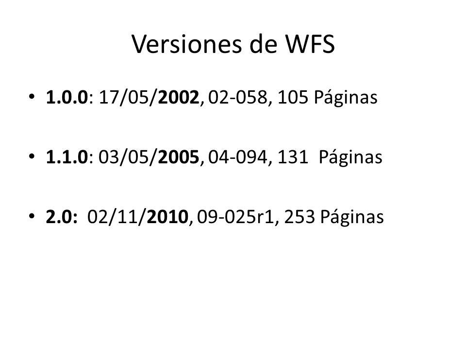 Versiones de WFS 1.0.0: 17/05/2002, 02-058, 105 Páginas
