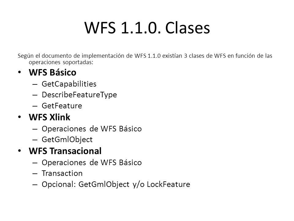 WFS 1.1.0. Clases WFS Básico WFS Xlink WFS Transacional