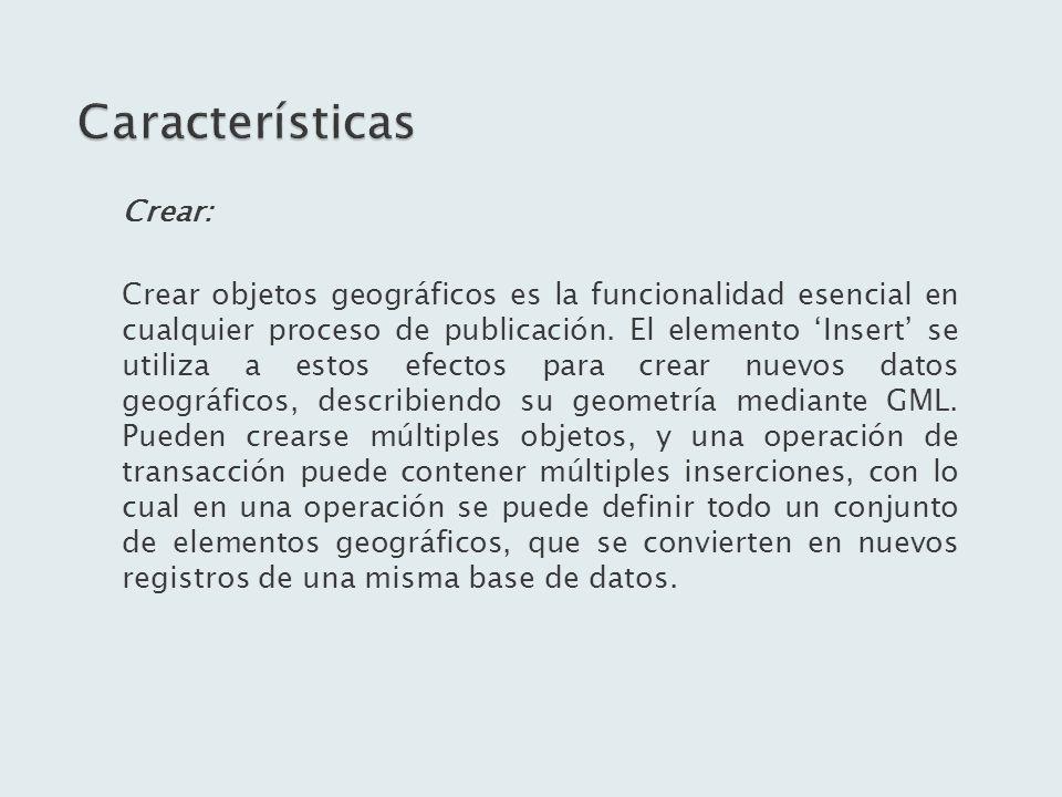 Características Crear: