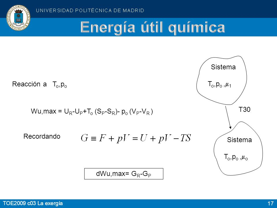 Energía útil química Sistema. Reacción a To,po. To,po ,1. Wu,max = UR-UP+To (SP-SR)- po (VP-VR )
