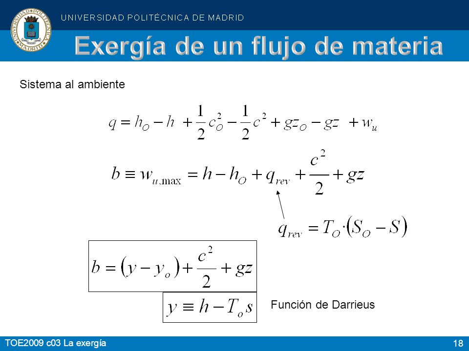 Exergía de un flujo de materia