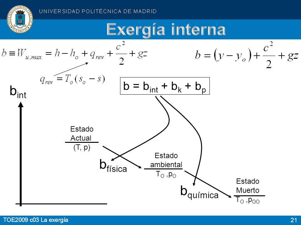 Exergía interna bint bfísica bquímica b = bint + bk + bp Estado Actual