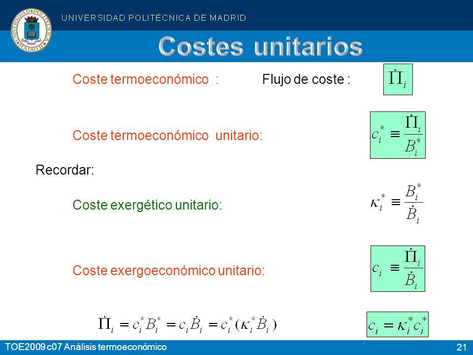 Costes unitarios Coste termoeconómico : Flujo de coste :
